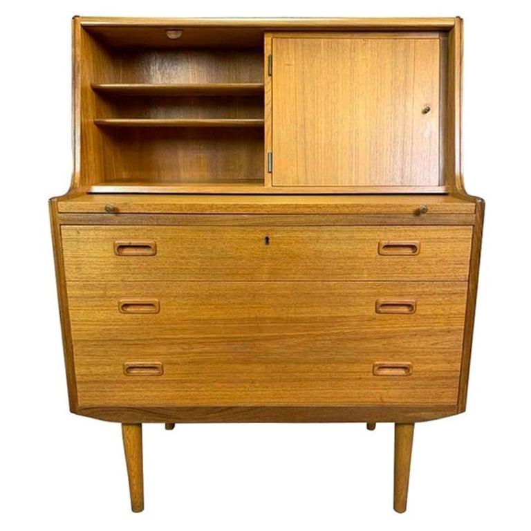 Vintage Midcentury Scandinavian Modern Teak Secretary Desk For Sale