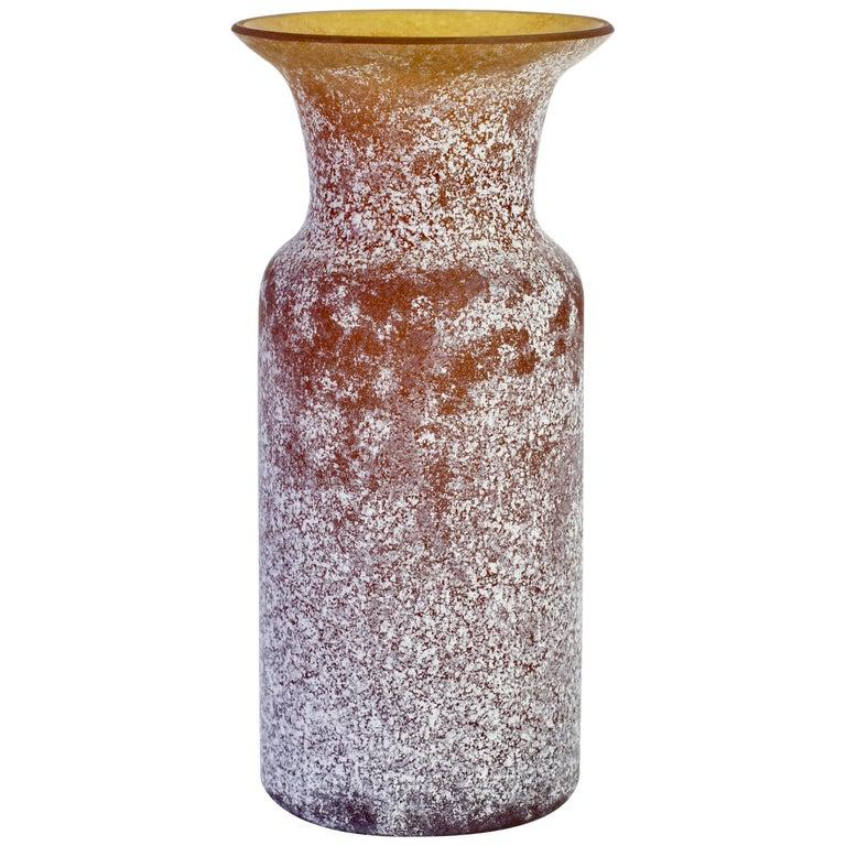 Vintage Seguso Vetri d'Arte Brown 'a Scavo' Murano Glass Vase For Sale