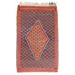 Vintage Midcentury Senneh Red and Blue Persian Kilim Rug