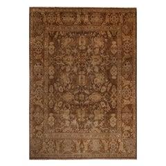Vintage Midcentury Sultanabad Beige-Brown Wool Persian Rug