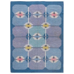 Vintage Midcentury Swedish Rug by Ingegerd Silow in Jewel Tones of Pink & Blue
