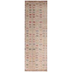 Vintage Midcentury Tan-Brown Wool Runner with Multi-Color Floral Pattern