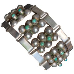 Vintage Midcentury Taxco Silver and Turquoise Bracelet