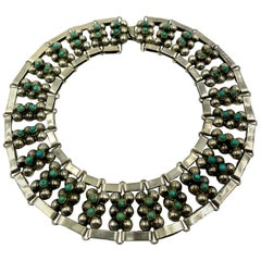 Vintage Midcentury Taxco Silver and Turquoise Wide Collar Necklace