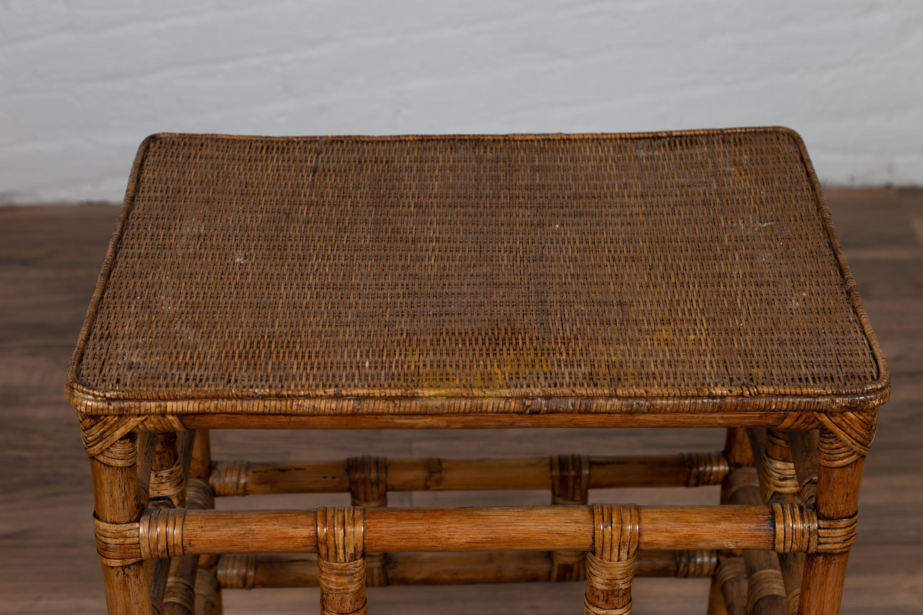 Vintage Midcentury Thai Side Table With Rattan Top And Bamboo Base At 1stdibs