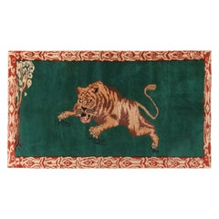 Vintage Midcentury Tiger Pictorial Green and Beige Wool Rug with Red Border Acc