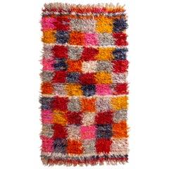 Vintage Midcentury Tulu Red and White Wool Rug