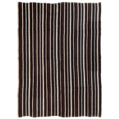 Vintage Midcentury Turkish in Wool Brown and Blue Striped Pattern