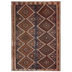 Vintage Midcentury Van Beige-Brown and Blue Wool Kilim Rug with Diamond Pattern