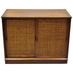 Vintage Midcentury Walnut Cane Front Double Sliding Door Credenza Cabinet