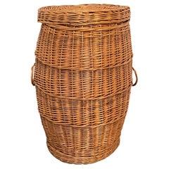 Vintage Midcentury Wicker Laundry Basket Hamper, 1970s, German