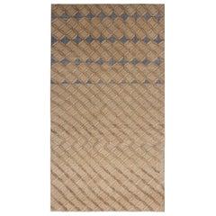 1960s Mid-Century Rug Beige and Blue Vintage Geometric Pattern