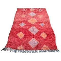 Vintage Middle Atlas Rug in Red Colored Harlequin Pattern, Morocco, 1980s