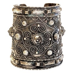 Vintage Middle Eastern 800 Silver Tribal Cuff