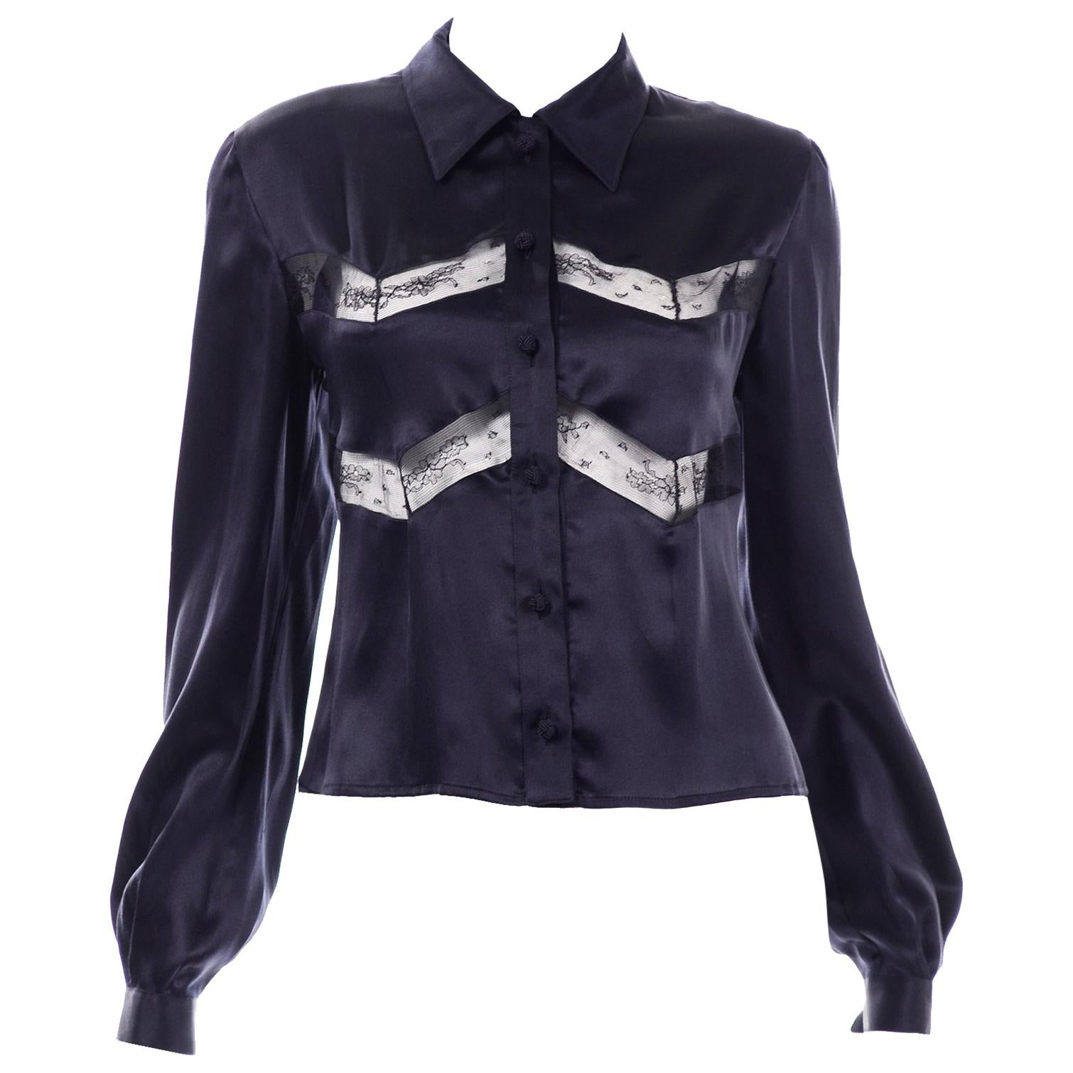 Vintage Midnight Blue Luxe Silk Valentino Blouse With Sheer Lace Inserts