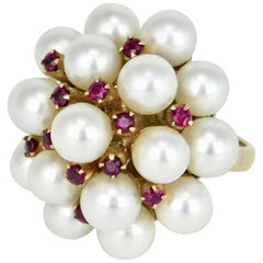 Vintage Mikimoto 14 Karat Gold Pearl and Ruby Cocktail Cluster Ring, 1960s