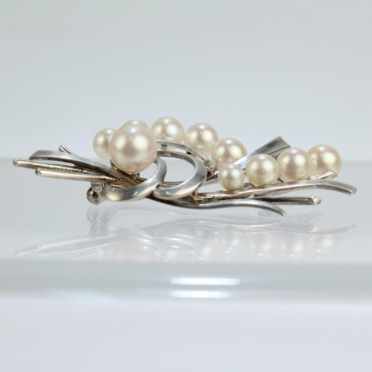 Round Cut Vintage Mikimoto Akoya Cultured Pearl and Sterling Silver Brooch or Pin For Sale