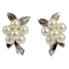 Vintage Mikimoto Akoya Cultured Pearl & Sterling Silver Screw Back Earrings