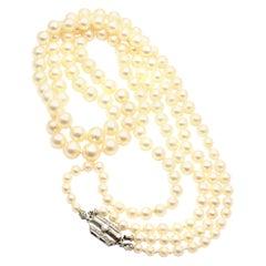 Vintage Mikimoto Platinum Diamond Graduated Pearl Double Strand Necklace