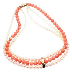 Vintage Mikimoto Three-Strand Pearl Coral Yellow Gold Bead Necklace