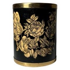 Vintage Milano Metal Wastebasket, Roses and Flowers manner of Piero Fornasetti