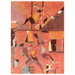 Vintage Miles Davis Design Jazz Scene Art Rug. Size: 8 ft 3 in x 11 ft 2 in