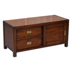 Vintage Military Campaign Style Mahogany TV Media Table Stand with Drawers