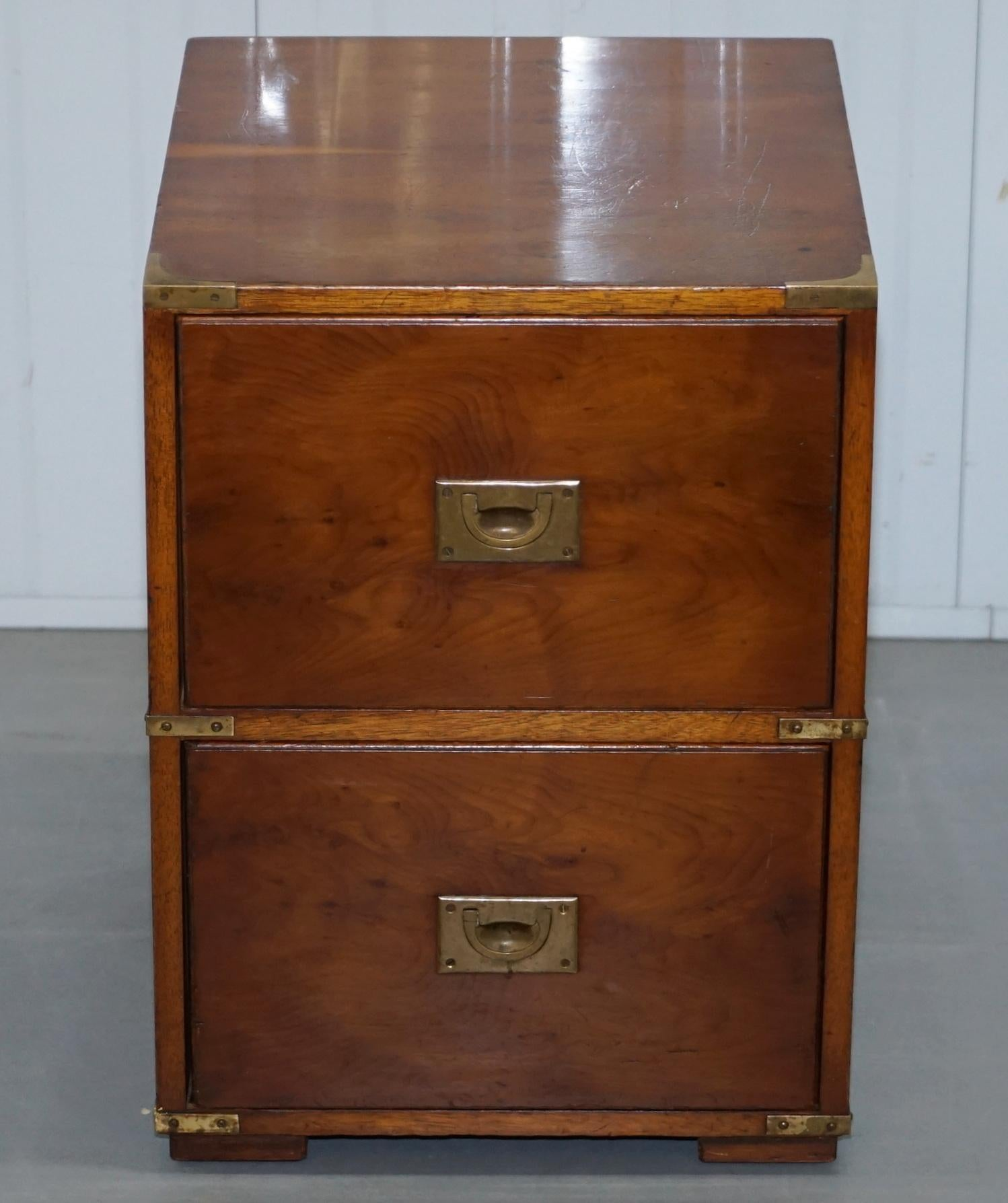 Vintage Military Campaign Style Side Table Bedside Chest Of Drawers Mahogany