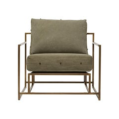 Vintage Military Canvas and Antique Brass Armchair