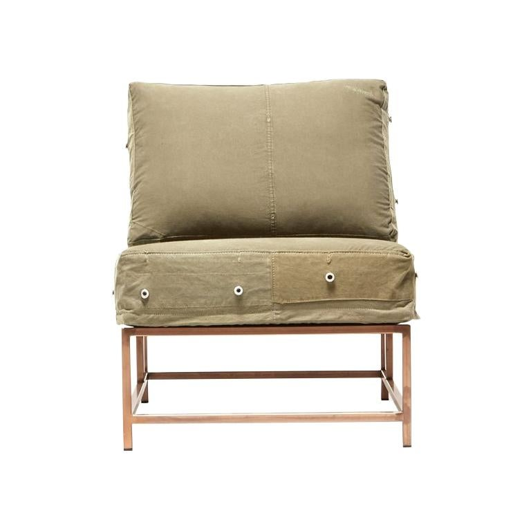 Vintage Military Canvas and Antique Copper Chair