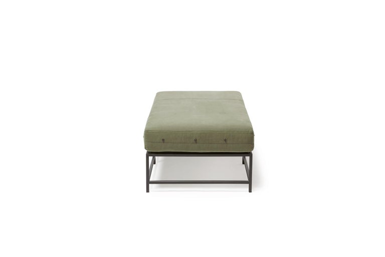American Vintage Military Canvas and Blackened Steel Bench For Sale