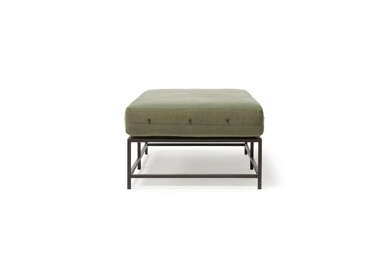 Plated Vintage Military Canvas and Blackened Steel Bench For Sale