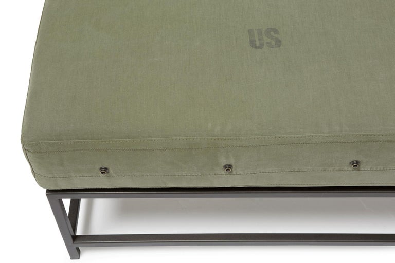 Contemporary Vintage Military Canvas and Blackened Steel Bench For Sale