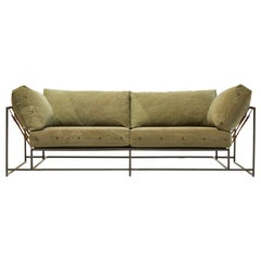 Vintage Military Canvas and Blackened Steel V2 Two-Seat Sofa