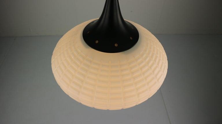 Vintage Milk Glass Drop Shape-Pendant Lamp By Kamenický Šenov, Czechosl, 1950s For Sale 4