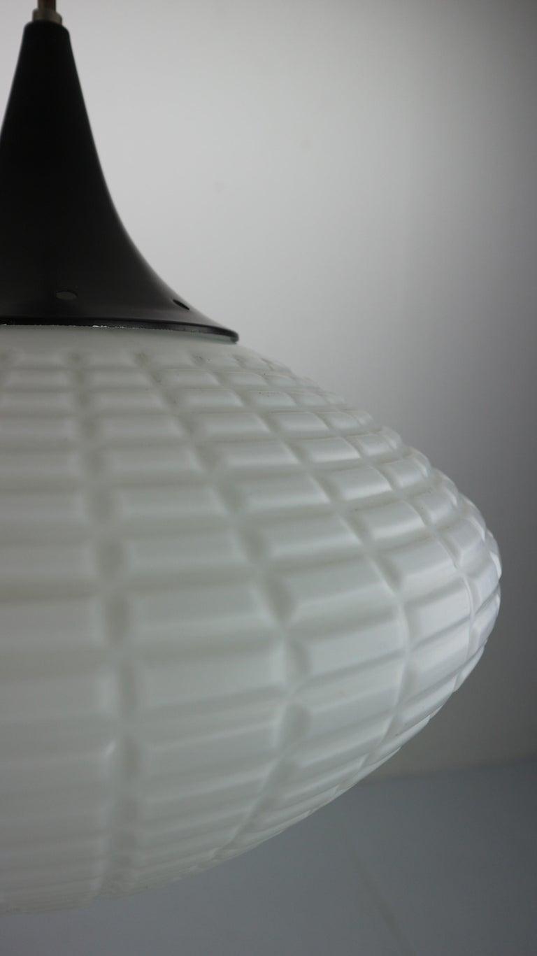 Vintage Milk Glass Drop Shape-Pendant Lamp By Kamenický Šenov, Czechosl, 1950s For Sale 6