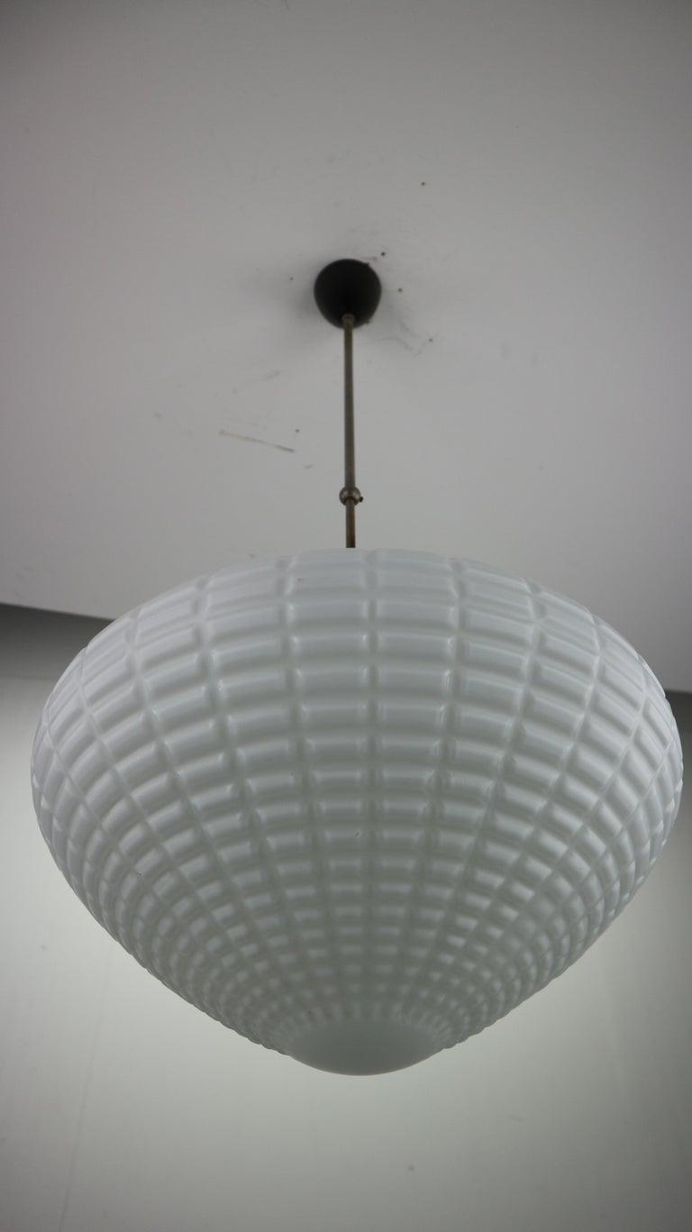 Vintage Milk Glass Drop Shape-Pendant Lamp By Kamenický Šenov, Czechosl, 1950s For Sale 8