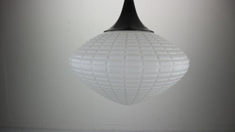 Vintage Milk Glass Drop Shape-Pendant Lamp By Kamenický Šenov, Czechosl, 1950s For Sale 9