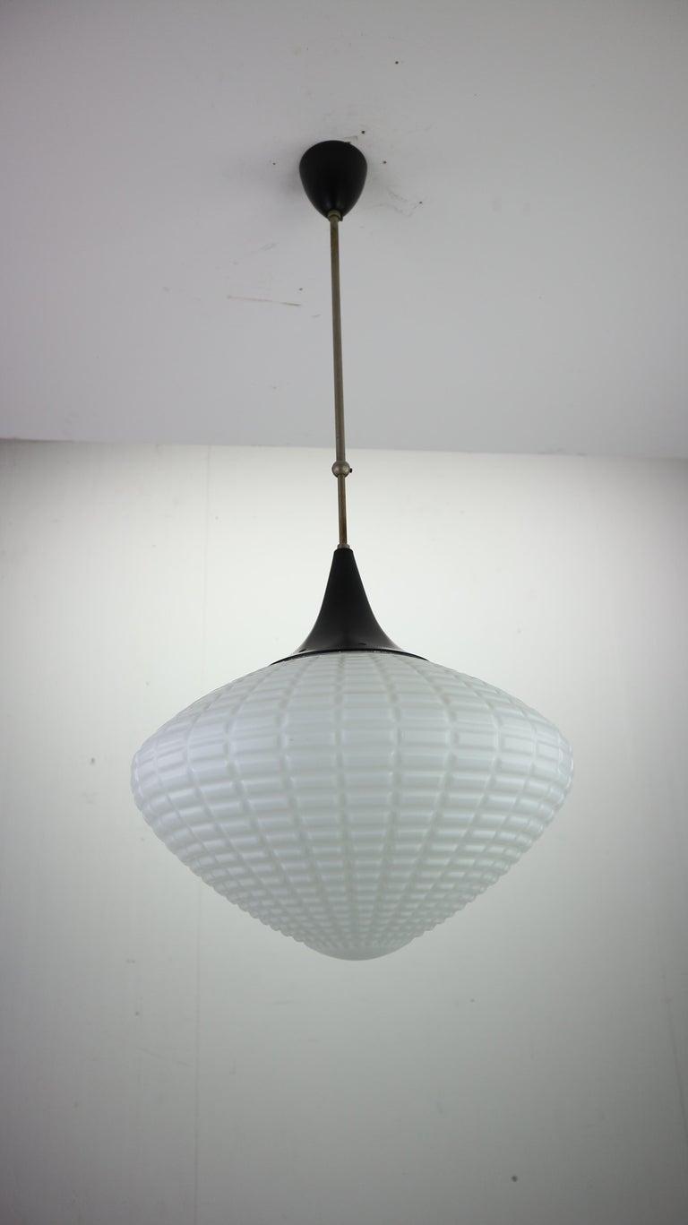 Art Deco Vintage Milk Glass Drop Shape-Pendant Lamp By Kamenický Šenov, Czechosl, 1950s For Sale