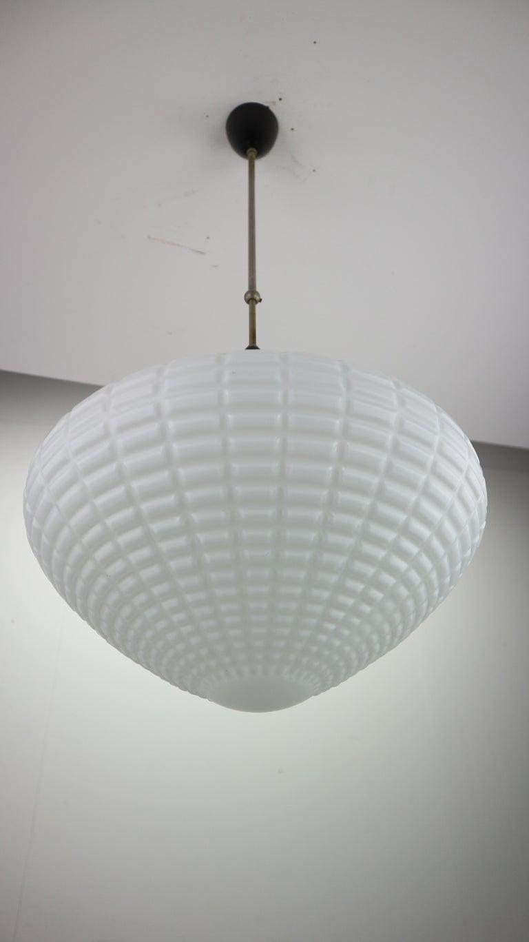 Vintage Milk Glass Drop Shape-Pendant Lamp By Kamenický Šenov, Czechosl, 1950s In Good Condition For Sale In The Hague, NL
