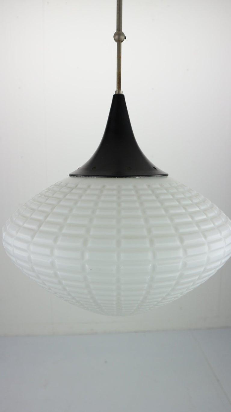 Mid-20th Century Vintage Milk Glass Drop Shape-Pendant Lamp By Kamenický Šenov, Czechosl, 1950s For Sale