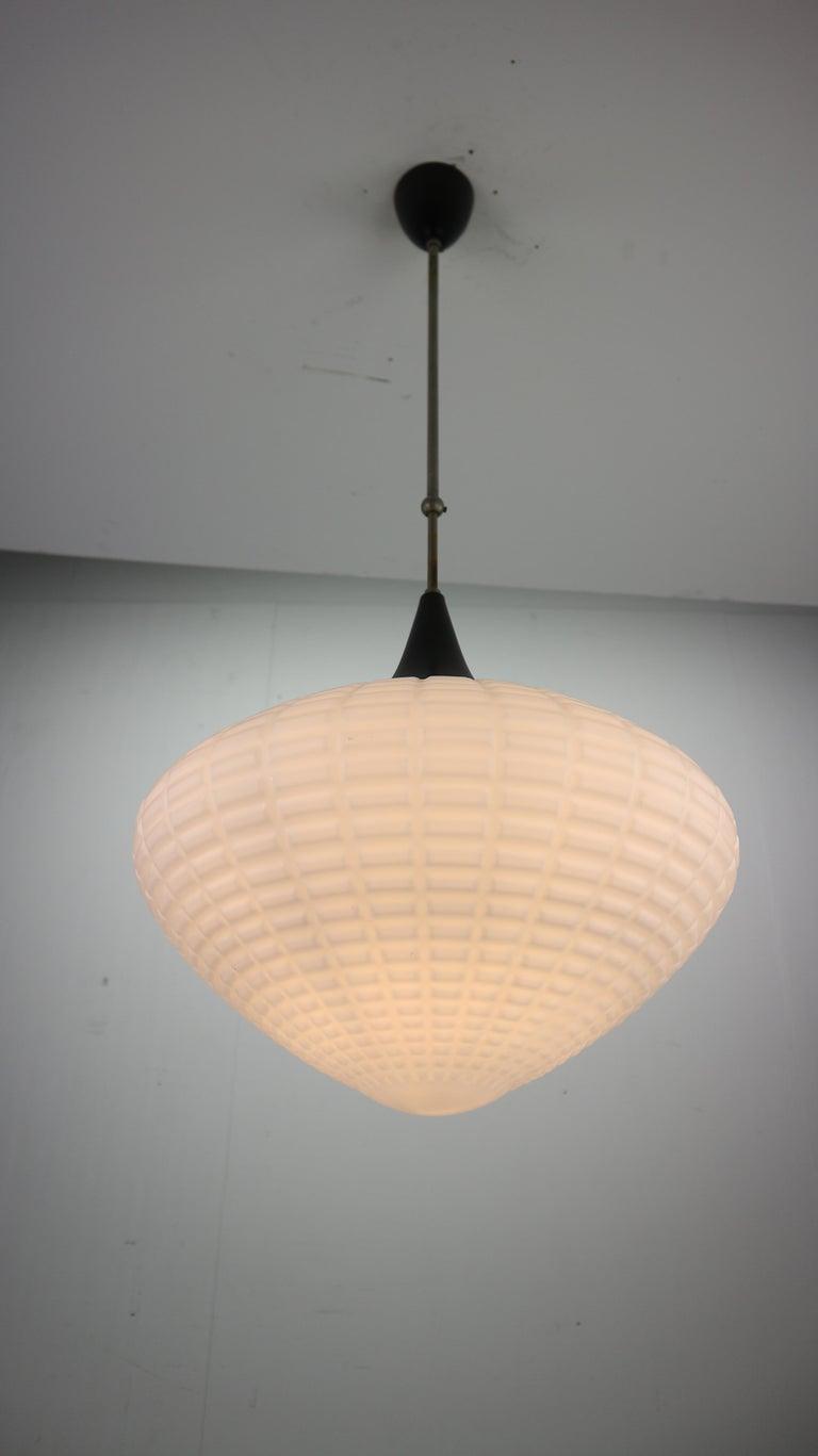 Vintage Milk Glass Drop Shape-Pendant Lamp By Kamenický Šenov, Czechosl, 1950s For Sale 1
