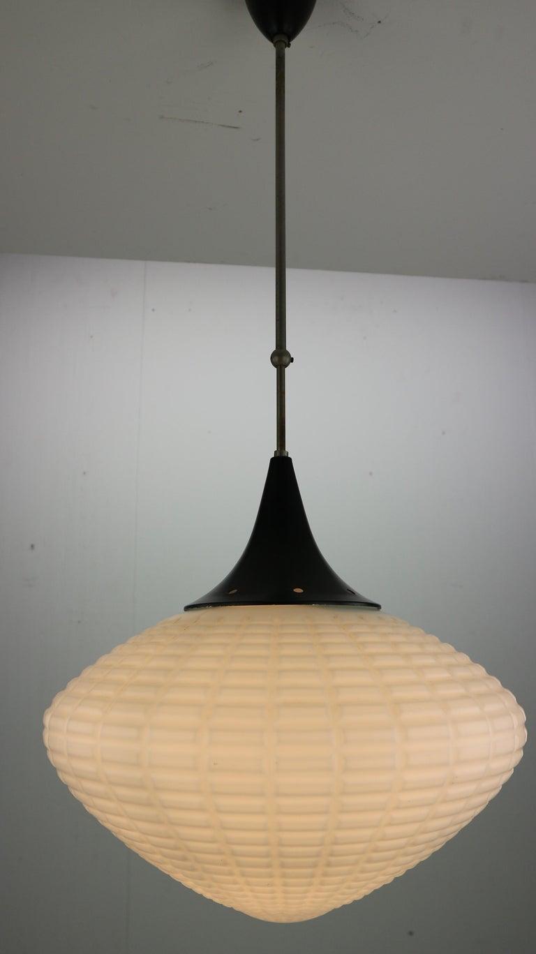 Vintage Milk Glass Drop Shape-Pendant Lamp By Kamenický Šenov, Czechosl, 1950s For Sale 2