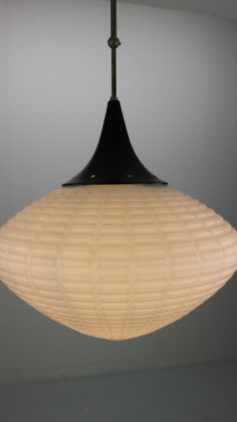 Vintage Milk Glass Drop Shape-Pendant Lamp By Kamenický Šenov, Czechosl, 1950s For Sale 3