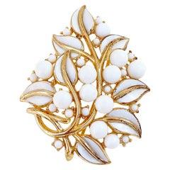 Vintage Milk Glass & White Enamel Leaves Gilded Brooch By Crown Trifari, 1950s