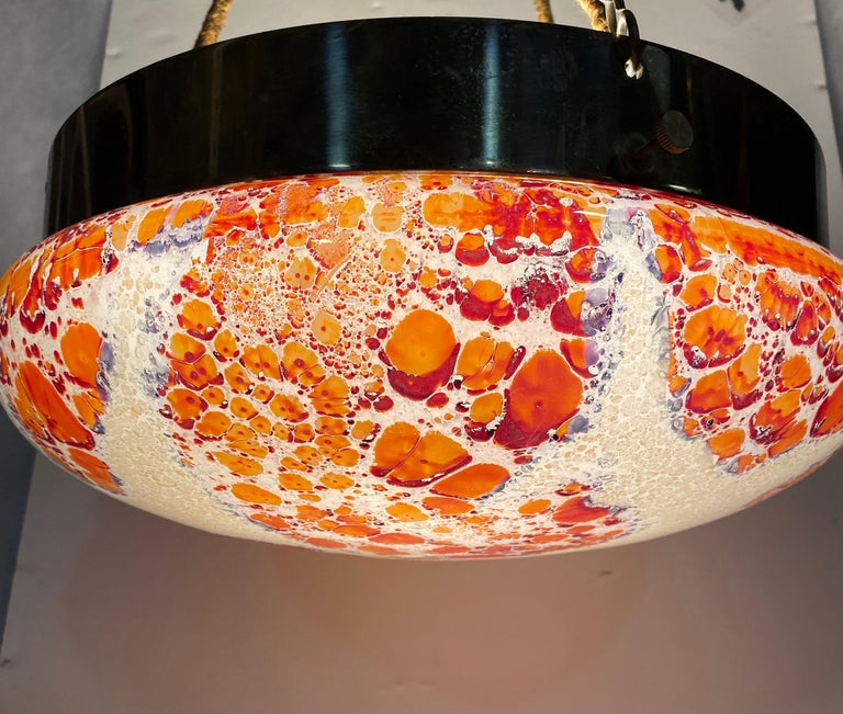 Vintage Millefiori Glass and Brass Pendant Light Fixture with Silk Hanging Cord In Good Condition For Sale In New York, NY