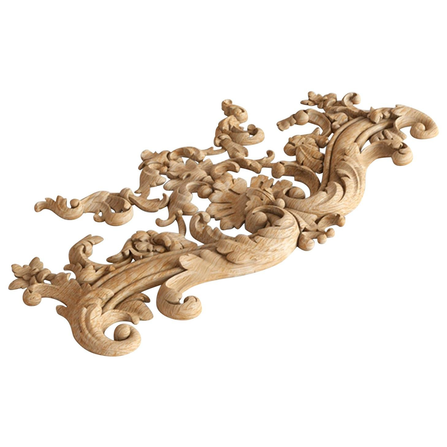 Vintage Millwork Wood Onlay, Artistic Wall Applique from Oak or Beech