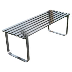 Vintage Milo Baughman Chrome Slat Bench or Coffee Table, Steel Hollywood Regency