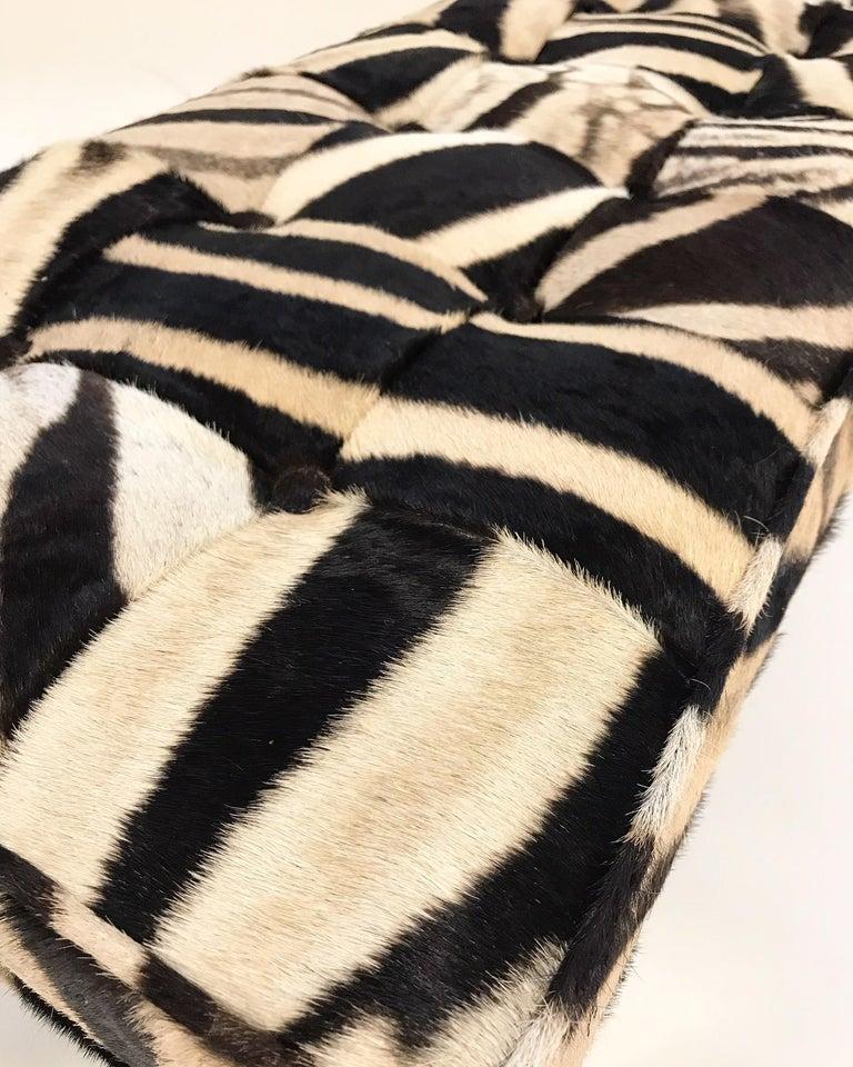 North American Vintage Milo Baughman Style Bench Restored in Patchwork Zebra Hide For Sale