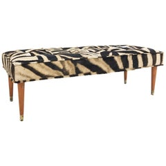 Vintage Milo Baughman Style Bench Restored in Patchwork Zebra Hide
